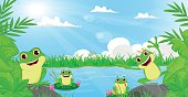 vector illustration of many frog playing in the river