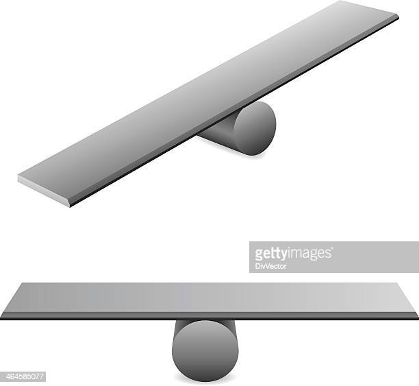 Illustration of metal planks balancing on cylinders