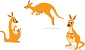 vector illustration of Mother kangaroo with her baby