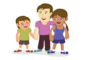 Illustration of multiracial family. Concept of multiethnic family bonding. Cartoon vector illustration.