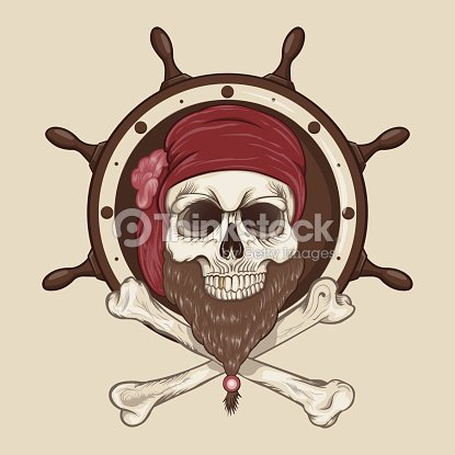 Illustration Of Pirate Skull With A Beard Vector Art