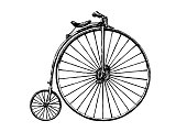 Vector hand drawn illustration of retro bicycle, penny-farthing. Retro bicycle was used in the 1870s.