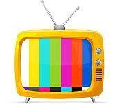 Vector Illustration of retro tv and rainbow screen