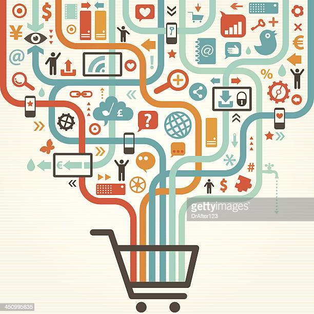 Illustration of shopping cart with various icons