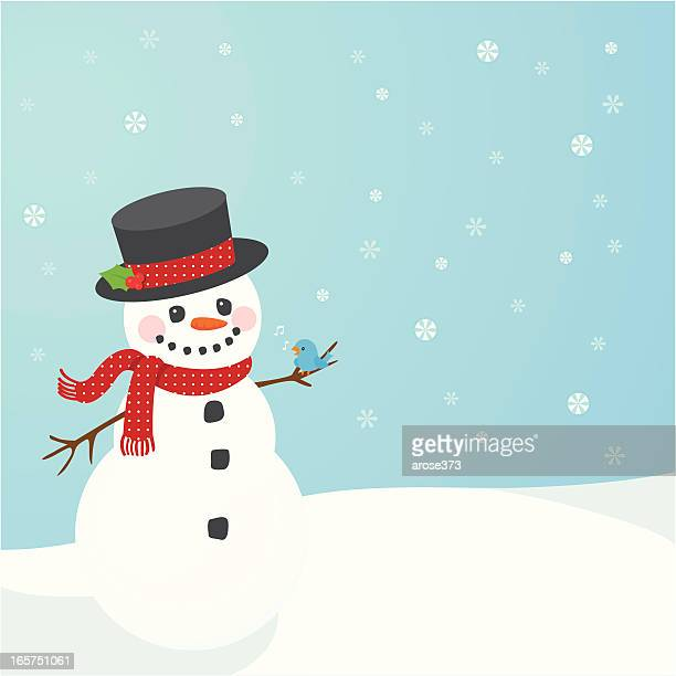 Illustration of snowman on blue background with snowflakes