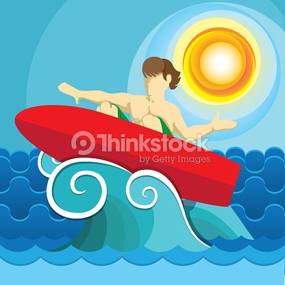 Illustration of surfer on surfboard surfing on wave, water sport. Ideal for sports and institutional materials