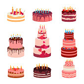 Illustration of sweet baked isolated cakes set. Strawberry icing cake for holiday, cupcake, baked brown chocolate cake for gourmet, colorful birthday celebration cherry cake bakery with . Birthday cak