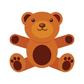 Teddy bear toy vector illustration. Isolated on white.