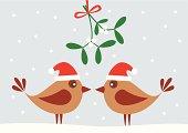 Two cute birds with Santa hats under mistletoe.