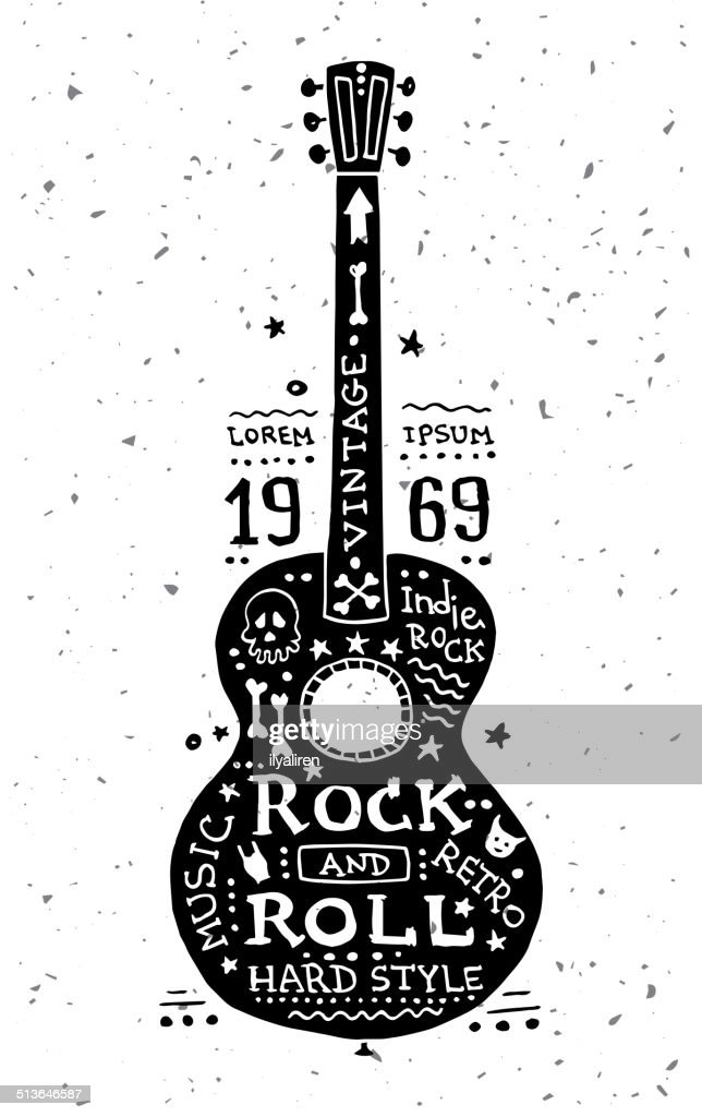 illustration of vintage grunge label with guitar vector art thinkstock rh thinkstockphotos com guitar pick vector art guitar vector art for cnc