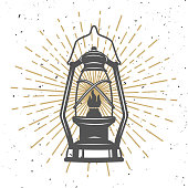 Illustration of vintage kerosene lamp. Design element for poster, flyer, banner. Vector illustration