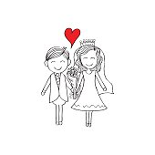 Illustration of wedding couple with wedding dress. Hand drawing illustration.