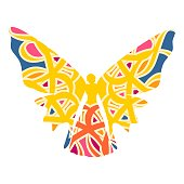 Butterfly with the body of a young woman. Abstract ornament