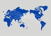 Illustration of world map(business,Internet,globalization)