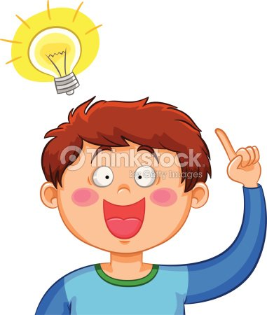 Illustration Of Young Boy Pointing To Light Bulb Idea Vector Art