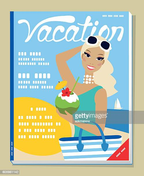 Illustration on a magazine cover of a woman on vacations