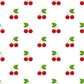 Illustration Seamless pattern Flat Cherry isolated on white background , fruit patterns texture fabric , wallpaper minimal style , Raw materials fresh fruits , vector