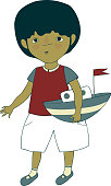 vector illustration with a little boy and his toy yacht on a white background