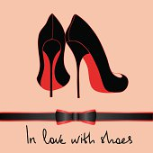 Illustration with elegance black pair of shoes