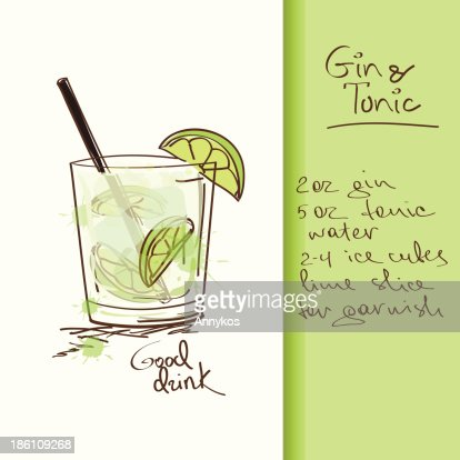 Illustration with Gin and Tonic cocktail : stock vector