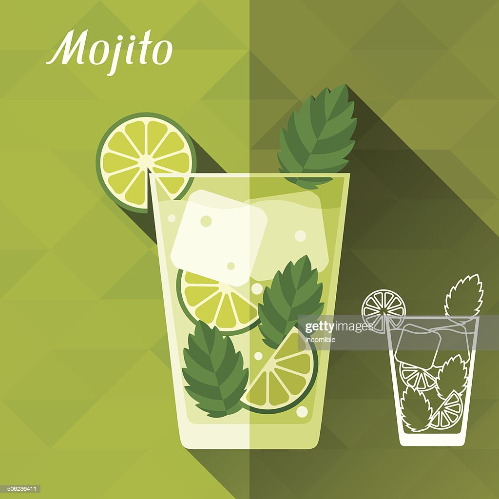 illustration with glass of mojito in flat design style vector art getty images. Black Bedroom Furniture Sets. Home Design Ideas