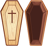 Illustration with open wooden coffin.File saved in EPS 10 format and contains blend and transparency effect