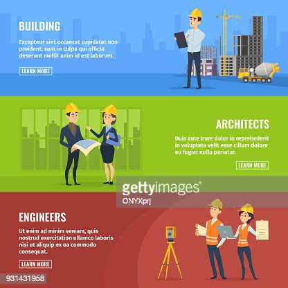 Illustrations for banners of builders architects and engineers : stock vector