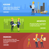 Illustrations for banners of builders architects and engineers. Vector architect and engineer construction, business building