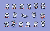 Set Vector Stock Illustrations isolated Emoji character cartoon Panda stickers emoticons with different emotions for site, info graphic, video, animation, websites, e-mails, newsletters, reports, comi