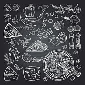 Illustrations of pizza ingredients on black chalkboard. Pictures set of italian kitchen. Italian food pizza, restaurant menu sketch with ingredient vector