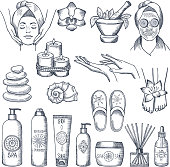 Illustrations set for spa salon. Candles, oils and stones, water therapy. Beauty therapy and spa relaxation for wellness vector