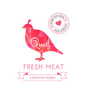 Image meat symbol quail silhouettes of animal for design menus, recipes and packages product. Vector illustration.
