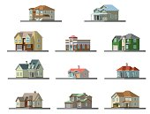 isometric image of a private house. vector flat illustration set