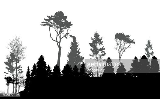 Image of Nature. Tree Silhouette. Eco banner. Vector Illustratio : Vector Art