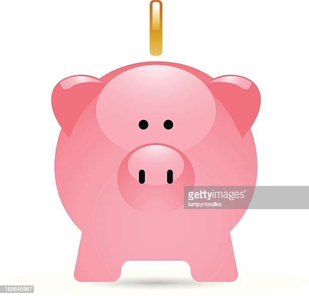 Image of pink piggy bank with one gold coin hovering above