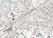 Imaginary plan a residential area of private housing. Quarter residential low-rise buildings. Vector illustration