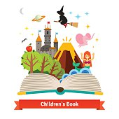 Imagination coming to life in a children fairy tail fantasy book. Flat style vector concept cartoon illustration.