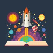 Vector illustration of open book with space elements - solar system, space shuttle, planets, stars, Earth, comet.