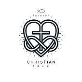 Immortal Love of God conceptual symbol combined with infinity loop sign and Christian Cross with heart, vector creative symbol.