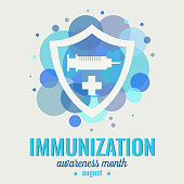 Immunization awareness month card. vector illustration.