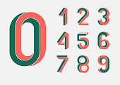 Impossible shape numbers. Retro style . Colored numbers in the style of the 80s. Set of vector numbers constructed on the basis of the isometric view. Low poly 3d characters. Vector.