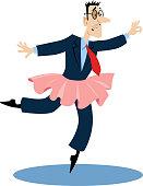 Businessman experiencing impostor syndrome, dancing as a ballerina, EPS 8 vector cartoon