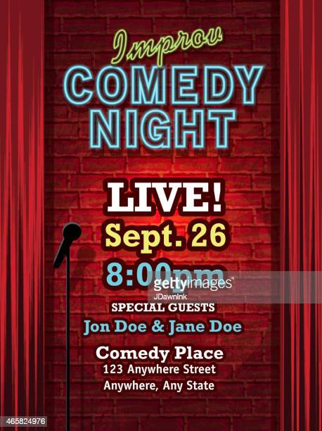 Improv Comedy Night stage with neon sign and curtain