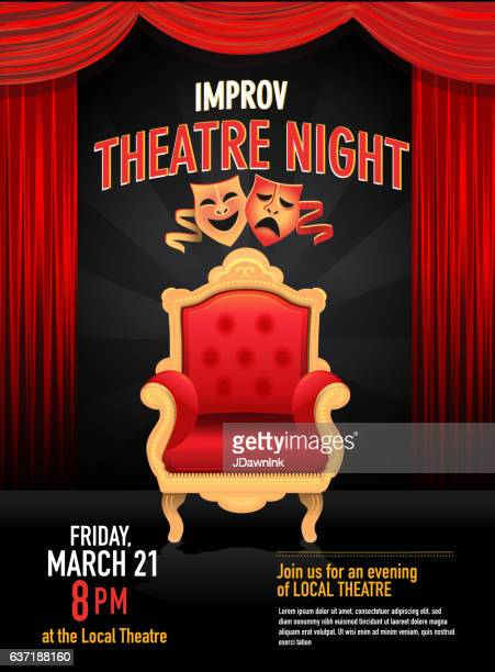 Improv Theatre Night design template with red curtain