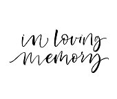 In loving memory phrase. Ink illustration. Modern brush calligraphy. Isolated on white background.