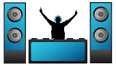 DJ in the headphones plays music on the mixer. Musical big speakers. Party, concert, club, festival