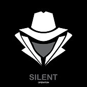 Mysterious man in white suit with the mask on black background. Secret service agent icon. undercover.