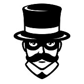 Incognito man in carnival mask. Gentleman with mustache in top hat and hidden face. Vintage style vector illustration.