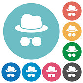 Incognito with glasses flat white icons on round color backgrounds
