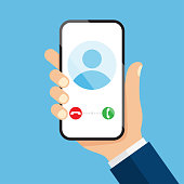 Incoming call on smartphone screen. Calling service. Vector illustration